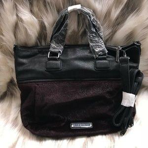 BCBGeneration Burgundy Landon Faux Fur Handbag